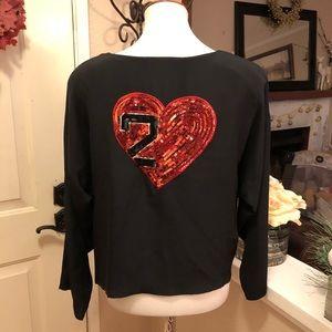 Stunning Silk ESCADA Valentines  Day Red Heart Top